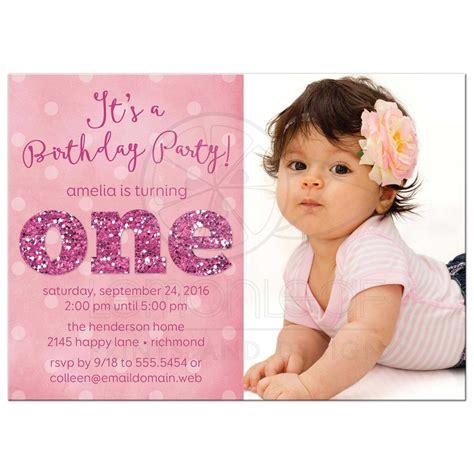 ist birthday party photo invitations sparkle