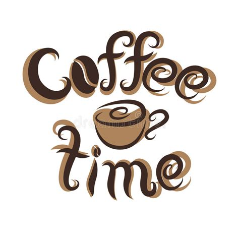 Vector Hand-drawn Coffee Time Lettering And Cup Stock