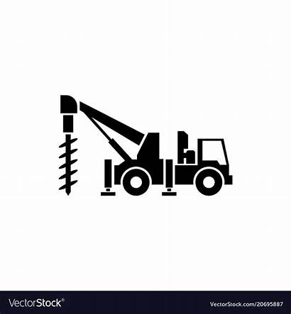 Drilling Icon Truck Vector Flat Royalty