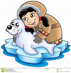 Eskimo girl with baby seal stock illustration ...