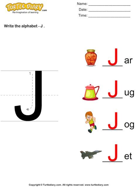 letter j worksheets write alphabet j in uppercase worksheet turtle diary 22891