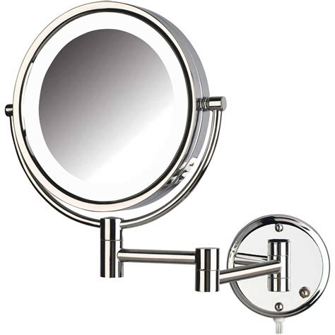 jerdon hlcl quot led lighted wall mount makeup mirror with