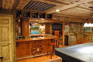 Pirate ship murals in lower level and bar by tom taylor of for Best brand of paint for kitchen cabinets with metal ship wall art