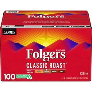 She can't get out due to the pandemic as she is 81 years old and she was soo thrilled that her coffee pods arrived so quickly. (100 K-PODS) FOLGERS CLASSIC ROAST K-CUP SINGLE SERVE COFFEE MEDIUM KUERIG | eBay