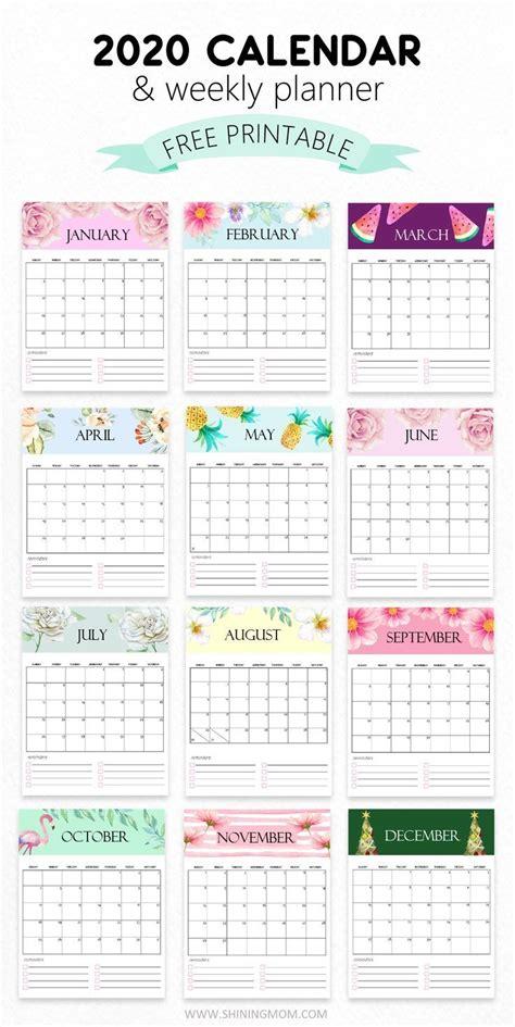 calendar  printable  cute monthly designs