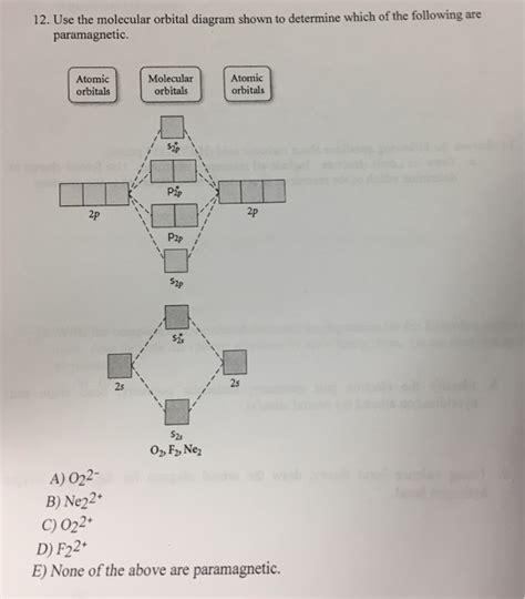Paramagnetic Molecular Orbital Diagram by 12 Use The Molecular Orbital Diagram Shown To Det