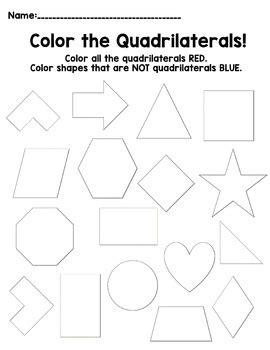 Coloring Quadrilaterals by Color The Quadrilaterals By Kickin It With Kaple Tpt