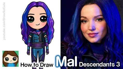 draw mal disney descendants  youtube