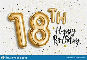 Happy, 18th, Birthday, Gold, Foil, Balloon, Greeting, Background