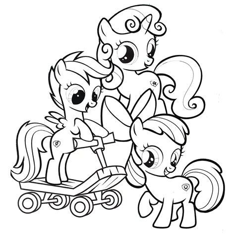 cutie mark crusaders   pony coloring page pre