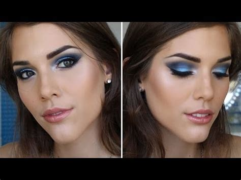 prom makeup tutorial blue smokey eyes youtube