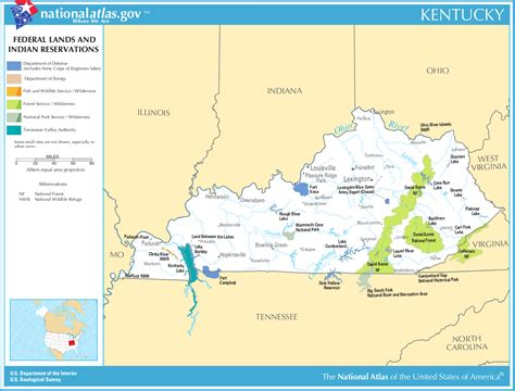 map  kentucky map federal lands  indian reservations