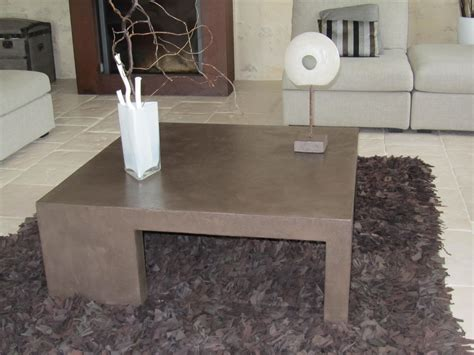 table de salon en beton cire table de salon en beton cire couleur chocolat photo de beton cire le mobilier