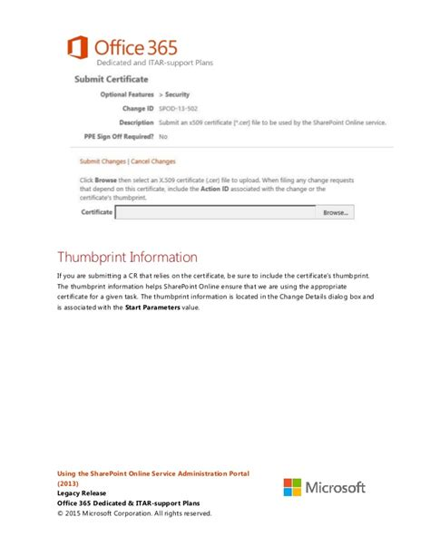 Office 365 X 509 Certificate by Using The Sharepoint Service Administration Portal