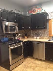 kitchen cabinets  black gel stain general finishes