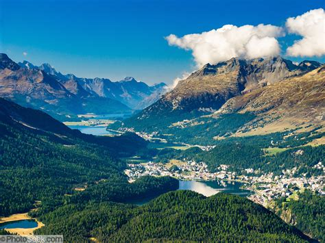 St Moritz And Three Lakes Nestle In Upper Engadine Valley