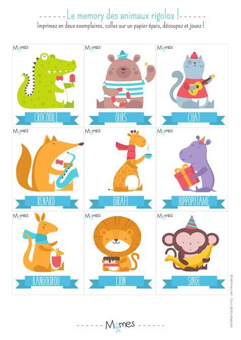 memory animaux jeu à imprimer momes