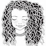 Curly Clip Coloring Adult Illustrations Vector Cartoons sketch template