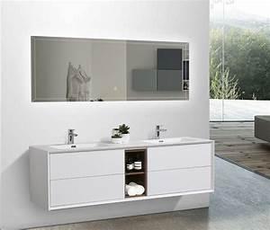 Meuble Salle De Bain Bois Et Blanc : meuble de salle de bain flora 1900 blanc mat avec niche de rangement optique bois de rose le ~ Teatrodelosmanantiales.com Idées de Décoration
