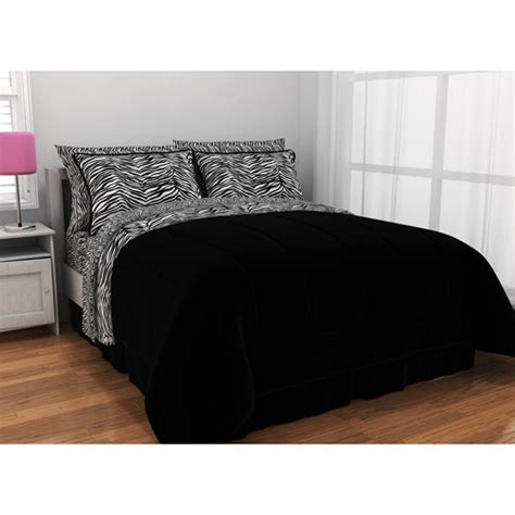 latitude zebra print complete bed in a bag bedding set and