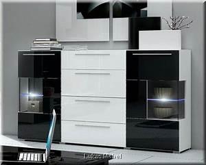 Kommode Schwarz Weiß Hochglanz : hochglanz wohnwand roma italienisches design mit led ~ Heinz-duthel.com Haus und Dekorationen