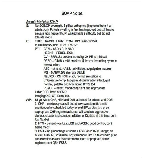 soap note template   medical note