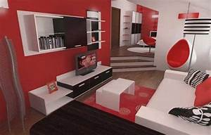 Red black and white living room decorating ideas home for Black and red bedroom ideas