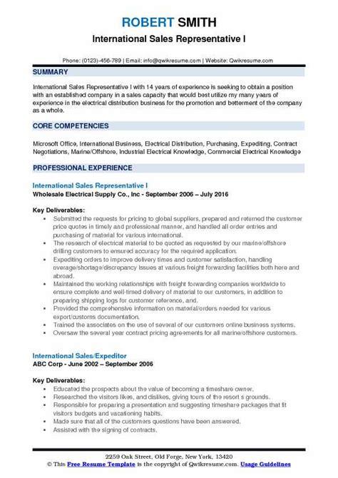 Resume Sle For Application by International Sales Representative Resume Sles Qwikresume