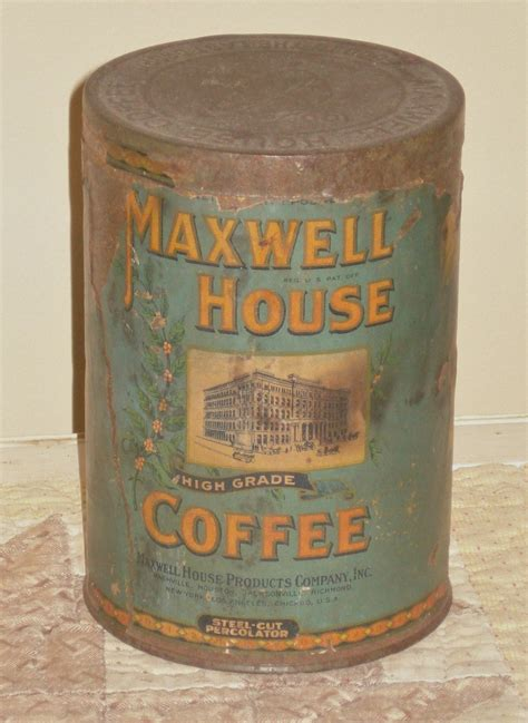 coffee maxwell antique tin label paper tins farmhouse holes cafe primitive retro labels tea canisters pyrex