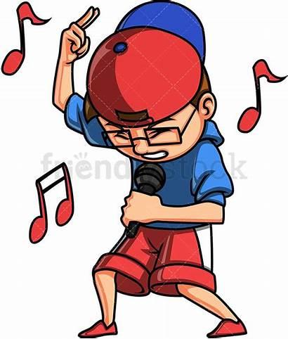 Song Rap Cartoon Clipart Singing Kid Singer