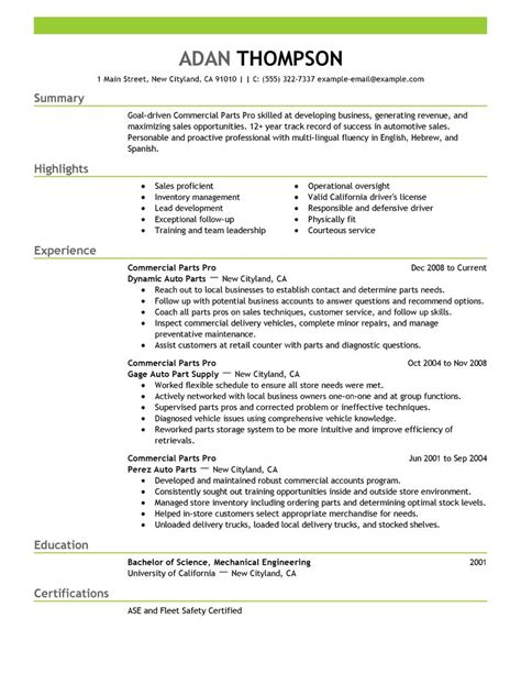 best commercial parts pro resume exle livecareer