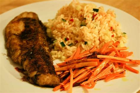 pan fried pollock seared carrots julienne spicy rice