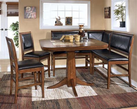 Dining Room Table Corner Bench Set Ashley Crofton  Ebay
