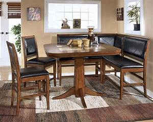 Dining room table corner bench set ashley crofton ebay for Corner bench dining room table