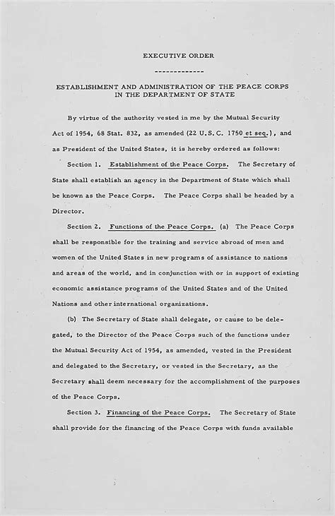 founding documents   peace corps national archives