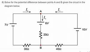Solved  Solve For The Potential Difference Between Points