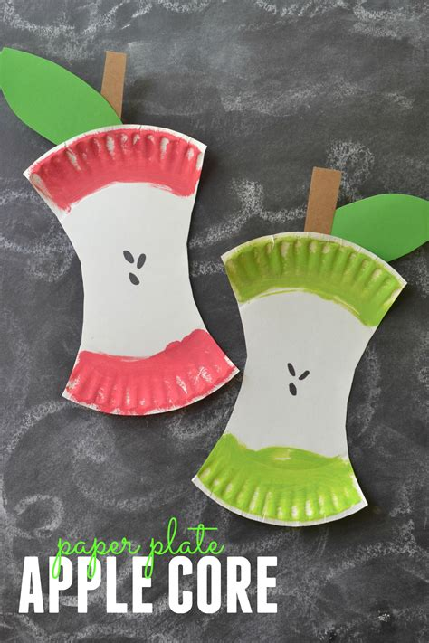 kids craft project paper plate apple core crafts