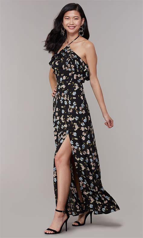 High-Neck Halter Wedding-Guest Floral-Print Dress