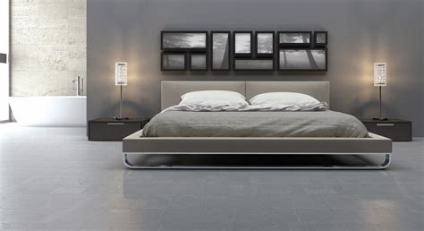Modloft Chelsea Bed by Modloft Broome 3 Warm Gray Leather Platform Bedroom