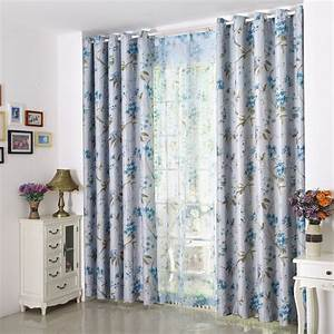 Blackout Country Elegant Curtains Blue Floral Print