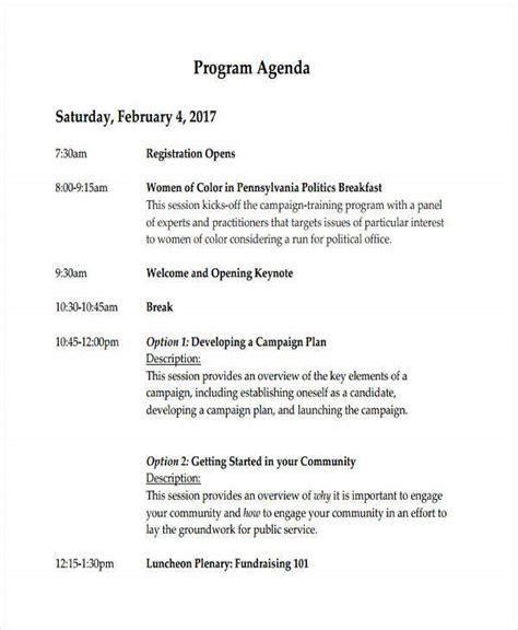 sample program agenda templates   sample