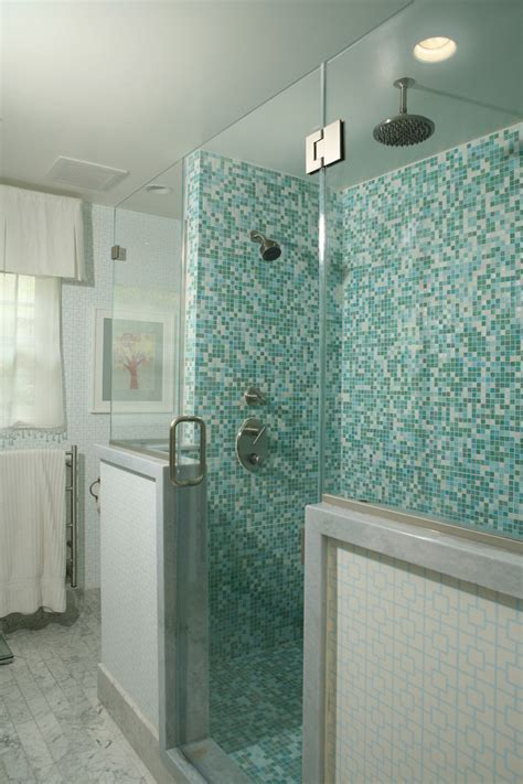 teal glass tile Bathroom Contemporary with beige