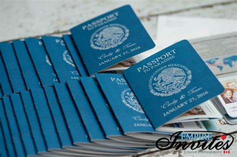 blue passport wedding invitations  moon palace mexico