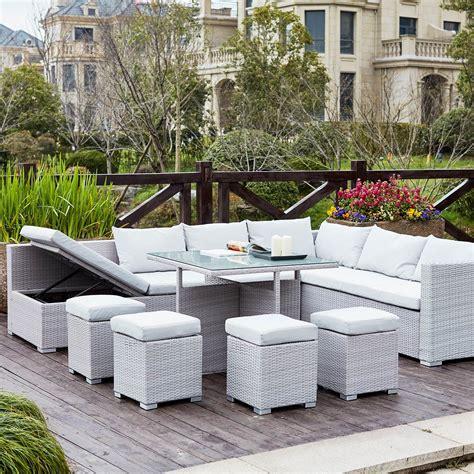 Fidji Gris/Blanc - Salon de jardin resine - Mobilier de jardin