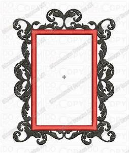 Fancy Damask Rectangle Frame 2 Full Stitch Embroidery Design