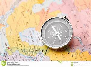 Compass On The Tourist Map  Navigation Tools To Orient
