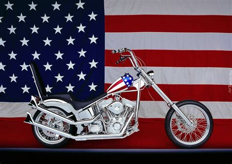 Srebrny, Motocykl, Flaga, Usa