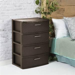 4, Drawer, Dresser, Chest, Plastic, Storage, Organizer, Cabinet, Wide, Weave, Espresso, New, 73149100733