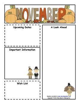 classroom newsletter templates   november