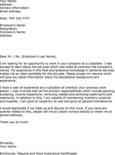 Custodian Cover Letter Exles by Sle Letter Interest Custodian Employment The Exle